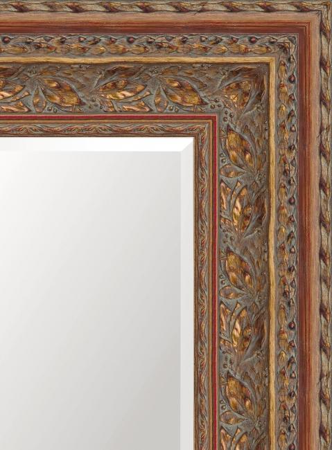 Настенное зеркало в деревянной раме Матовый рубин