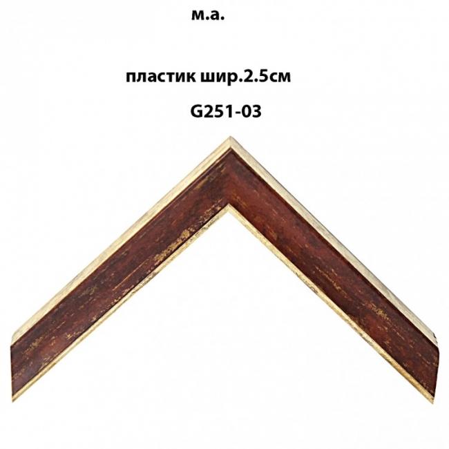Багет пластиковый цветной шириной 2.5 см арт. G251-03