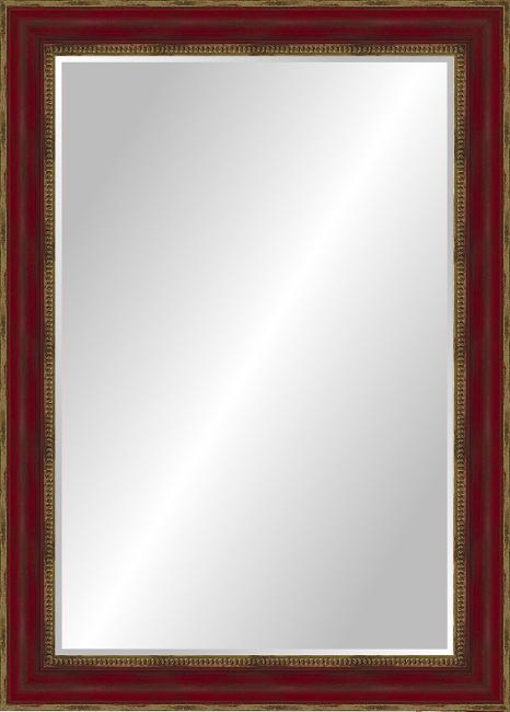 Настенное зеркало в деревянной раме Красное