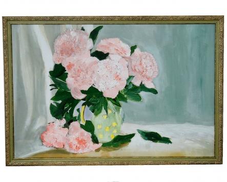 Розовые цветы в вазе масло 83х43