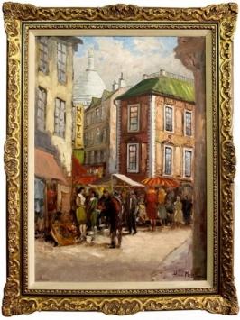 Торговая площадь в Париже холст масло художник Генри Моррель размер с багетом-72х 93 см