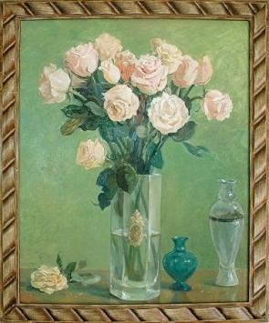 Картина художника.  Розы в хрустальной вазе. Холст, масло в багете. Дерево. 58х69 см