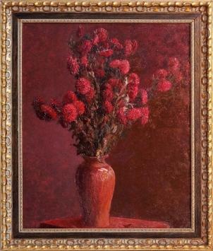 Красные хризантемы масло натуральный холст 62х73 см деревянный багет Италия