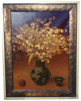 Ваза с декоративными листьями .картина выполнена в желто-коричневых тонах .холст масло размер 67х87см