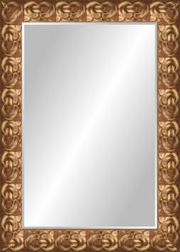 Настенное зеркало в деревянной раме Медь