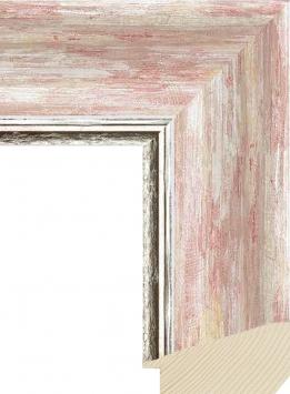 Настенное зеркало в деревянной раме Прованс Розовая пастель